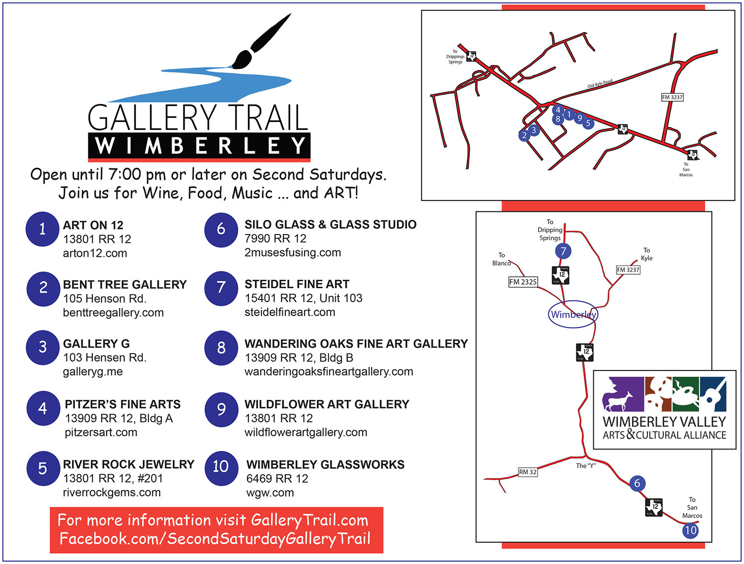 Gallery Trail Map for Wimberley's Art Galleries