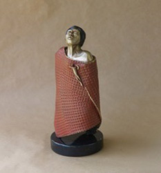 Pat Moberley Moore Sculpture Woman in Red - Bronze - 18.5 x 7 x 7