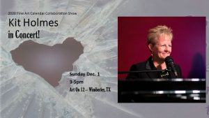 I had an impromptu chance to book Kit Holmes to perform on Sunday, December 1st, from 3 till 5